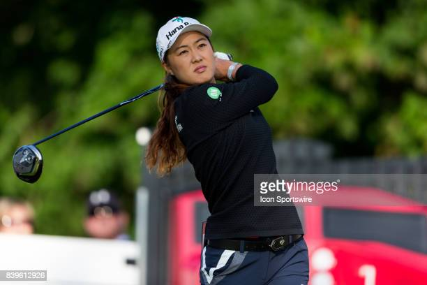 Minjee Lee tees off on the 1st hole during the third round of the Canadian Pacific Women's Open on August 26 2017 at The Ottawa Hunt and Golf Club in...