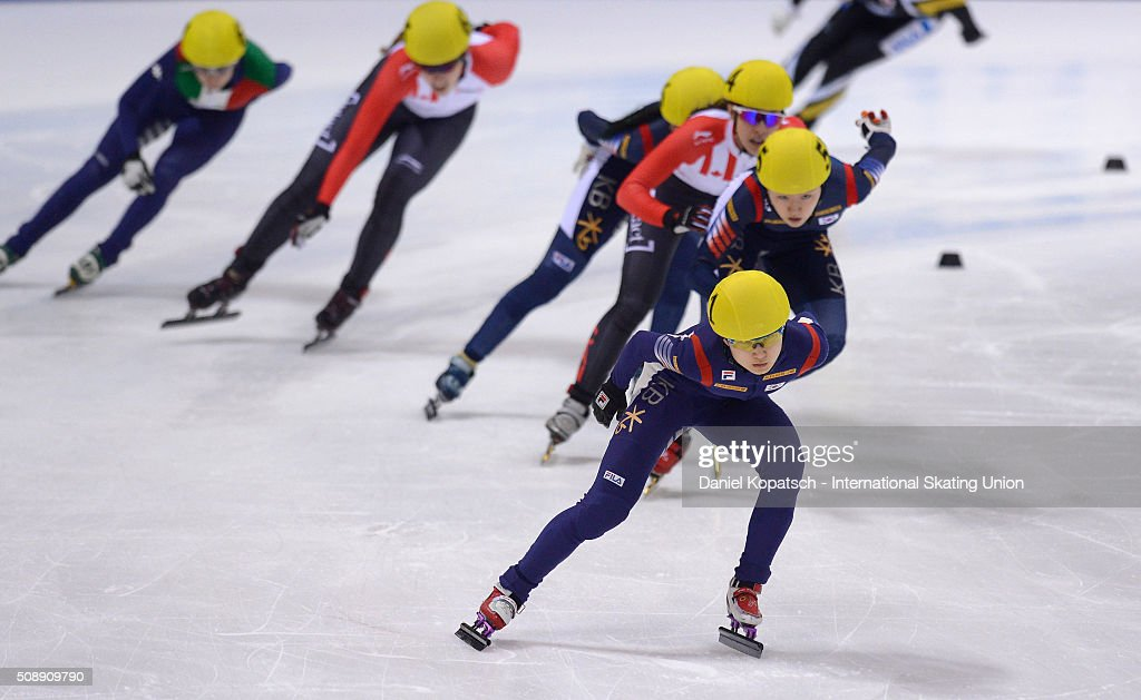 Minjeong Choi of Korea leads the Ladies 1500 M Final during day two of the ISU World Cup Short Track Speed Skating at EnergieVerbund Arena on February 7, 2016 in Dresden, Germany.