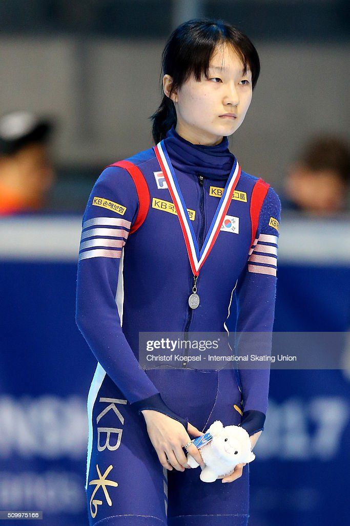 Minjeong Choi of Korea poses during the medal ceremony after winning the 2nd place of the ladies 1000m final A during Day 2 of ISU Short Track World Cup at Sportboulevard on February 13, 2016 in Dordrecht, Netherlands.