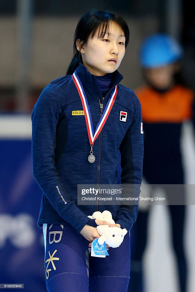 Minjeong Choi of Korea poses during the medal ceremony after winning the 2nd place of the ladies 500m final A during Day 3 of ISU Short Track World Cup at Sportboulevard on February 14, 2016 in Dordrecht, Netherlands.