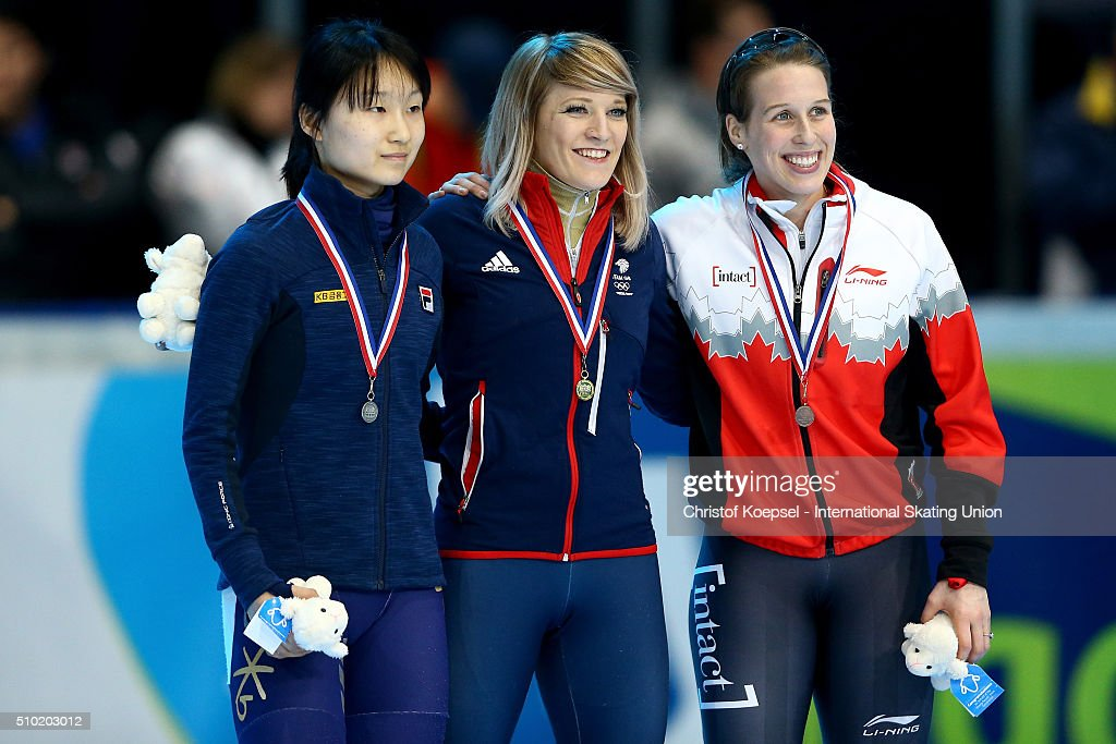 Minjeong Choi of Korea poses during the medal ceremony after winning the 2nd place, <a gi-track='captionPersonalityLinkClicked' href=/galleries/search?phrase=Elise+Christie&family=editorial&specificpeople=4113885 ng-click='$event.stopPropagation()'>Elise Christie</a> of Great Britain poses during the medal ceremony after winning the 1st place and <a gi-track='captionPersonalityLinkClicked' href=/galleries/search?phrase=Marianne+St-Gelais&family=editorial&specificpeople=5579569 ng-click='$event.stopPropagation()'>Marianne St-Gelais</a> of Canada poses during the medal ceremony after winning the 3rd place of the ladies 500m final A during Day 3 of ISU Short Track World Cup at Sportboulevard on February 14, 2016 in Dordrecht, Netherlands.
