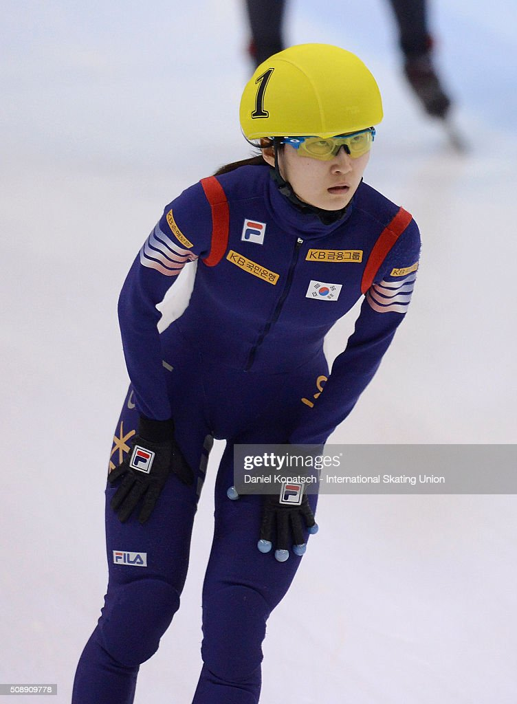 Minjeong Choi of Korea reacts after the Ladies 1500 M Final during day two of the ISU World Cup Short Track Speed Skating at EnergieVerbund Arena on February 7, 2016 in Dresden, Germany.