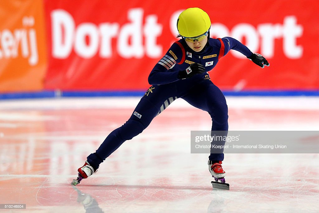 Minjeong Choi of Korea skates during the ladies 3000m relay final during Day 3 of ISU Short Track World Cup at Sportboulevard on February 14, 2016 in Dordrecht, Netherlands.