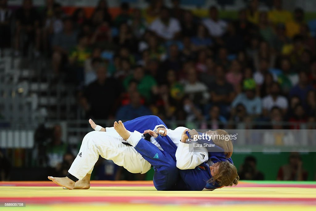 Minjeong Kim of Korea competes against Tessie Savelkouls of the Netherlands during the Women's 78kg Judo contest on Day 7 of the Rio 2016 Olympic...