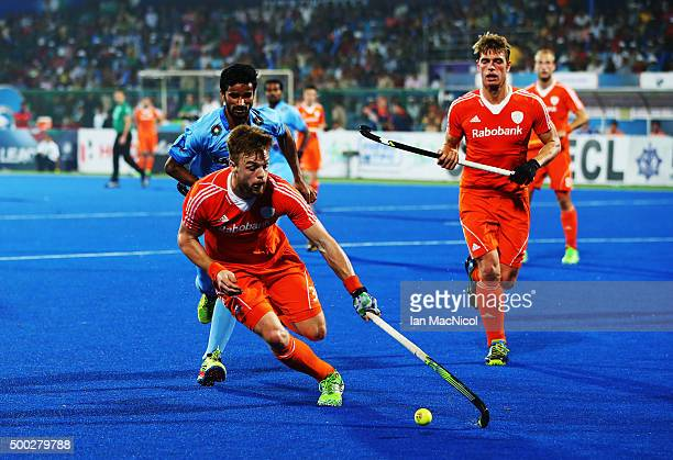 Mink van der Weerden of Netherlands controls the ball during the match between Netherlands and India on day ten of The Hero Hockey League World Final...