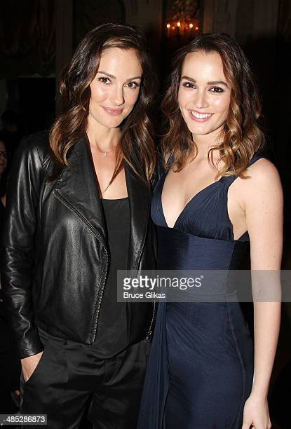Minka Kelly and Leighton Meester attend the after party for the Broadway opening night of 'Of Mice and Men' at The Plaza Hotel on April 16 2014 in...