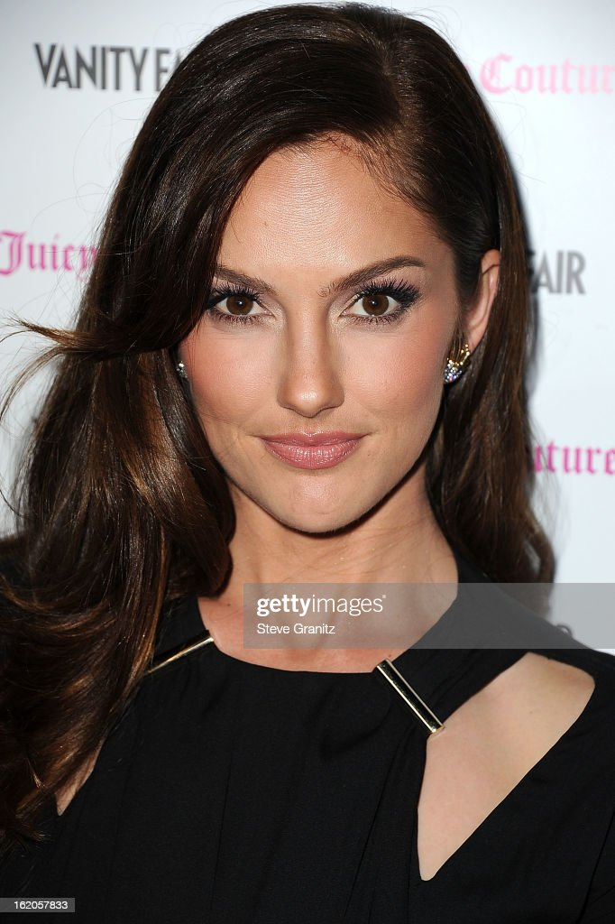 Minka Kelly arrives at the Vanity Fair And Juicy Couture Celebration Of The 2013 Vanities Calendar With Olivia Munn at Chateau Marmont on February 18, 2013 in Los Angeles, California.