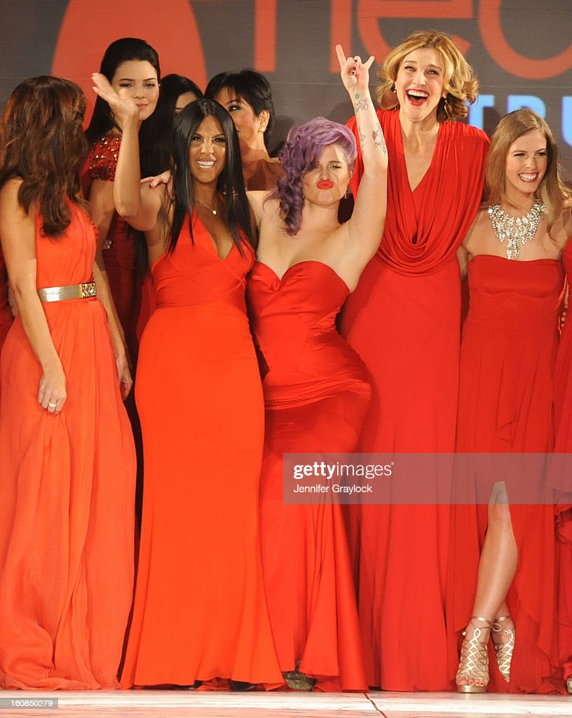 Minka Kelly, Kendall Jenner, Kylie Jenner, Toni Braxton, Kelly Osbourne, Brenda Strong and Torah Bright on the runway during The Heart Truth 2013 Fashion Show held at the Hammerstein Ballroom on February 6, 2013 in New York City.
