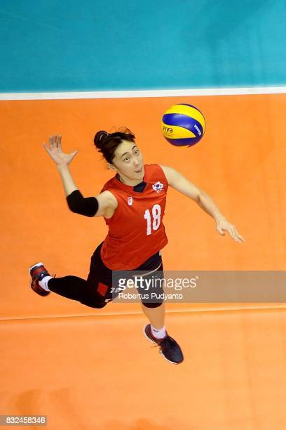 Minkyoung Hwang of Korea spikes during the 19th Asian Senior Women's Volleyball Championship 2017 Semifinal match between Thailand and Korea at...