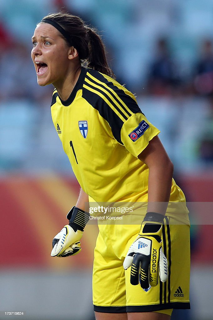 Minna Meriluoto of Finland shouts during the UEFA Women's EURO 2013 Group A match between Denmark and Finland at Gamla Ullevi Stadium on July 16, 2013 in Gothenburg, Sweden.