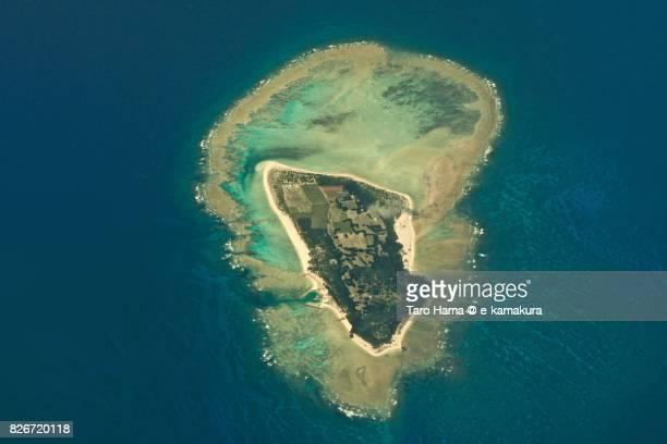 Minnajima Island in Tarama village in Okinawa prefecture day time aerial view from airplane
