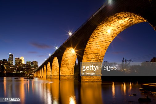 Minneapolis' famous stone arch bridge and Mississippi river.