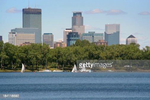 Minneapolis Minnesota Downtown Urban Skyline with Sailboats on Park Lake
