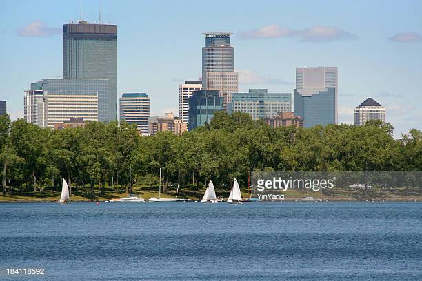 Minneapolis Minnesota Downtown Urban Skyline with Sailboats on Park Lake