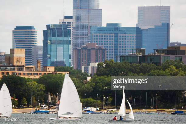 Minneapolis, Minnesota Urban Scene of Lake Calhoun Sailboats, Downtown Skyline