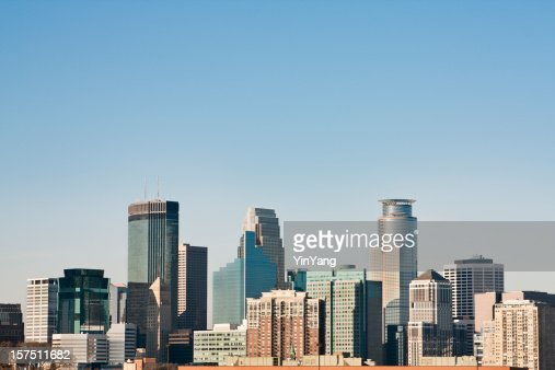 Minneapolis, Minnesota Urban Skyline, Downtown District Daytime Cityscape of Skyscrapers