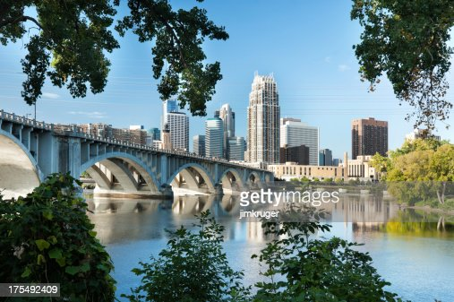 Minneapolis, Minnesota with 3rd Ave. bridge.