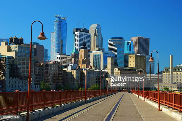 Minneapolis skyline and pedestrian bridge