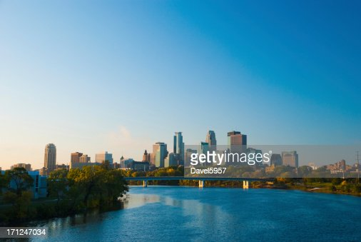 Minneapolis skyline and River in the morning