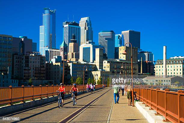Minneapolis Skyline with Active People in the Foreground