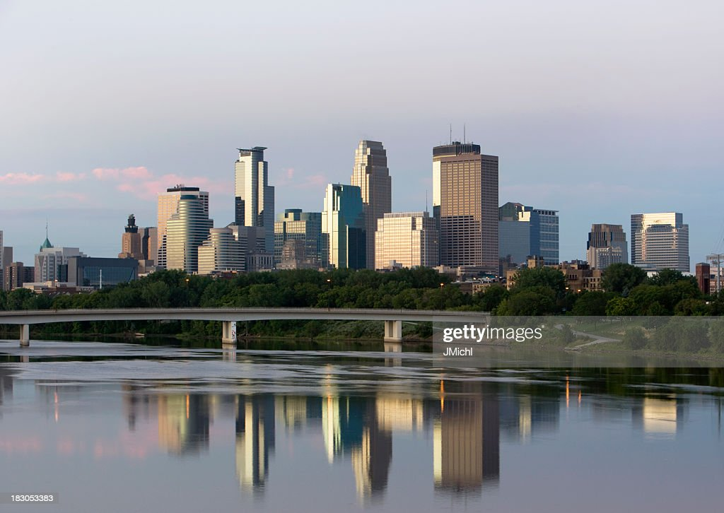 Minneapolis Skyline with Mississippi River in Foreground.