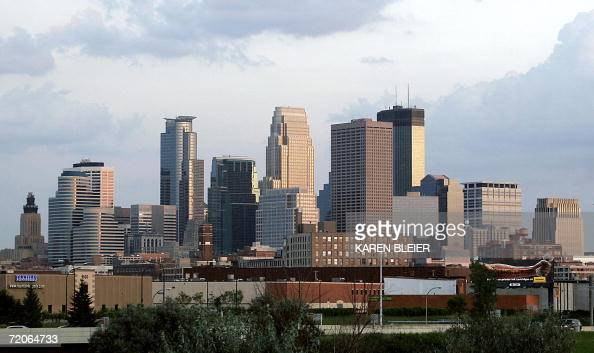 This 08 September 2006 photo shows the skyline of Minneapolis Minnesota as seen from the west side AFP PHOTO/Karen BLEIER