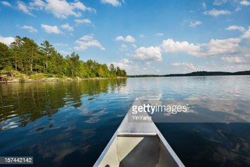 Minnesota Boundary Waters Canoe Area, Canoeing in Scenic Lake Landscape