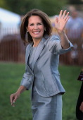 Minnesota Congresswoman Michele Bachmann arrives at the Stephens Auditorium at Iowa State University for the Republican party debate August 11 2011...