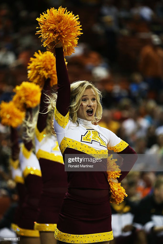 A Minnesota Golden Gophers cheerleader performs in the first half against the Florida Gators during the third round of the 2013 NCAA Men's Basketball Tournament at The Frank Erwin Center on March 24, 2013 in Austin, Texas.