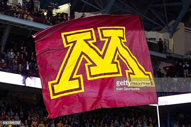 Minnesota Golden Gophers flag waves during the lineup announcements during the Big Ten Conference match up between the Michigan State Spartans and...