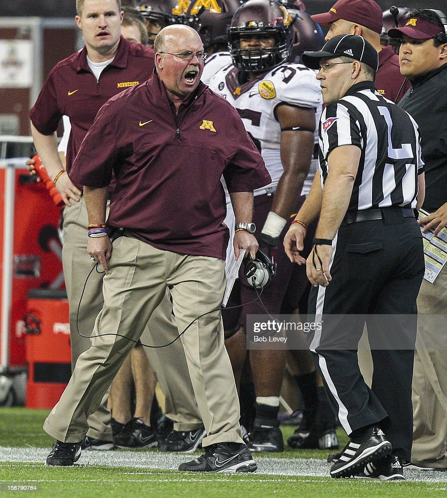 Minnesota Golden Gophers head coach Jerry Kill yells at line judge Ric Hinkamper after a penalty for unsportsmanlike conduct was called on his player during the Meineke Car Care of Texas Bowl against the Texas Tech Red Raiders at Reliant Stadium on December 28, 2012 in Houston, Texas. Texas Tech defeated Minnesota 34-31.