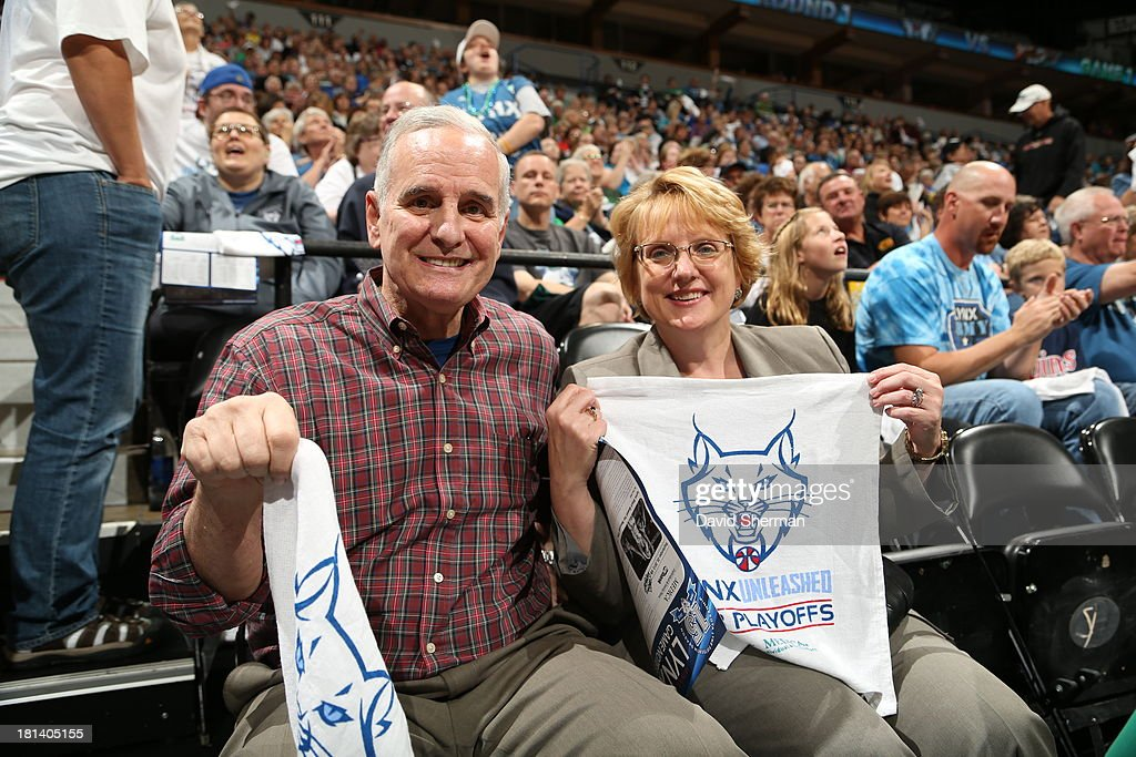 Minnesota Governor Mark Dayton and Minnesota Chief Justice Lorie Gidea cheer on the Minnesota Lynx against the Seattle Storm during the WNBA Western Conference Semifinals Game 1 on September 20, 2013 at Target Center in Minneapolis, Minnesota.
