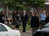 Minnesota Governor Mark Dayton center arrives outside the funeral of Philando Castile at the Cathedral of St Paul on July 14 2016 in St Paul...