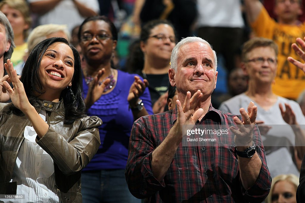 Minnesota Governor <a gi-track='captionPersonalityLinkClicked' href=/galleries/search?phrase=Mark+Dayton&family=editorial&specificpeople=612750 ng-click='$event.stopPropagation()'>Mark Dayton</a> cheers for the Minnesota Lynx as they take on the San Antonio Silver Stars in Game One of the Western Conference Semifinals during the 2011 WNBA Playoffs on September 16, 2011 at Target Center in Minneapolis, Minnesota.