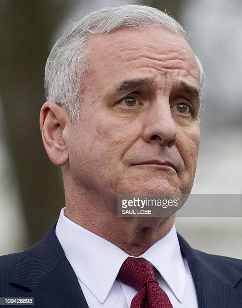 Minnesota Governor Mark Dayton stands on the North Lawn of the White House in Washington DC February 25 following a meeting of Democratic governors...