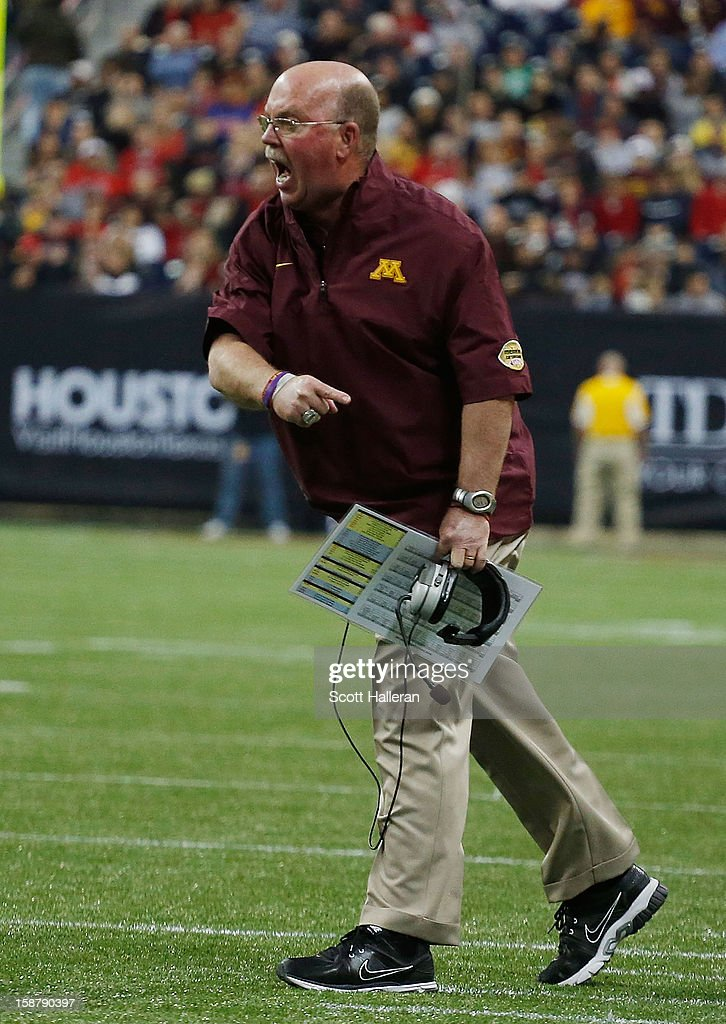 Minnesota head coach Jerry Kill argues a call during the game against Texas Tech during the Meineke Car Care of Texas Bowl at Reliant Stadium on December 28, 2012 in Houston, Texas.