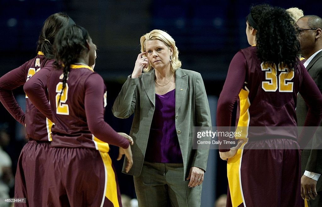 Minnesota head coach Pam Borton talks to her players during a women's college basketball game at the Bryce Jordan Center in State College, Pa., on Sunday, Jan. 26, 2014. The Penn State Lady Lions defeated the Minnesota Gophers, 83-53.