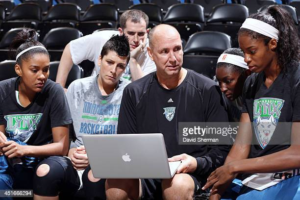 Minnesota Lynx Asstiant Coach Jim Peterson reviews game footage with Monica Wright Janel McCarville Asia Taylor Devereaux Peters and Video...