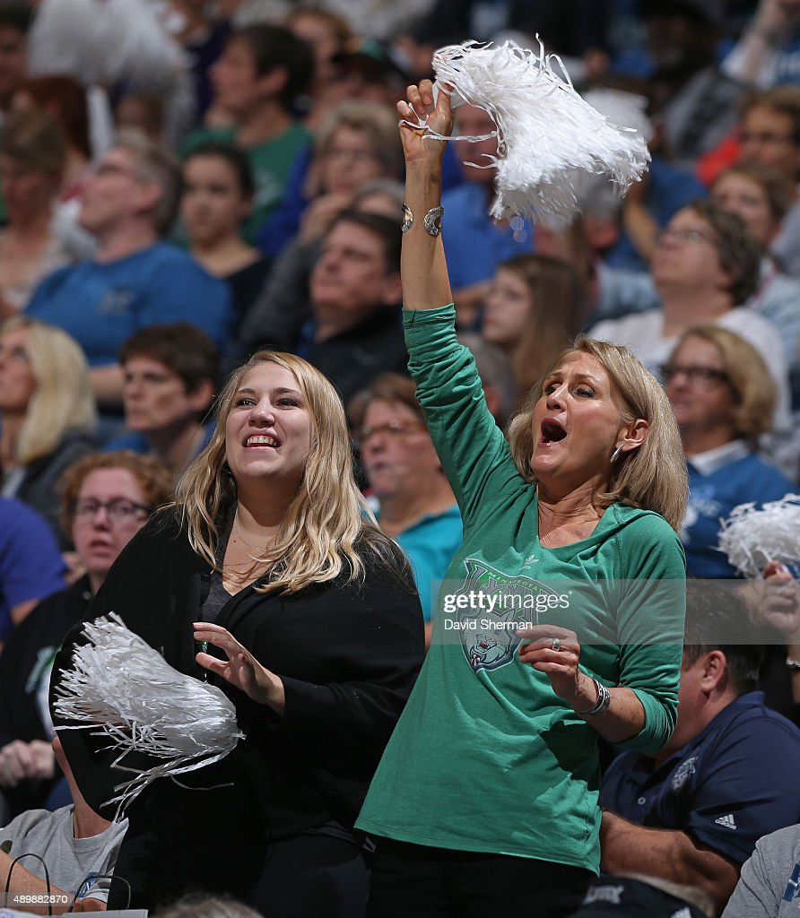 Minnesota Lynx fans cheer during Game One of the WNBA Western Conference Finals against the Phoenix Mercury on September 24 2015 at Target Center in...