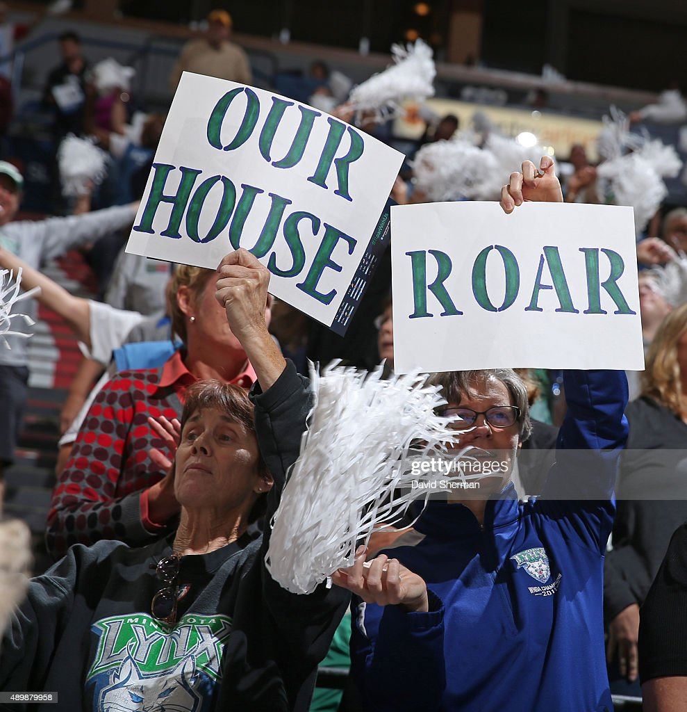 Minnesota Lynx fans hold up signs during Game One of the WNBA Western Conference Finals against the Phoenix Mercury on September 24 2015 at Target...