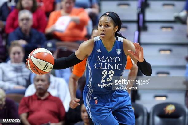 Minnesota Lynx forward Maya Moore fast breaks during the second half of an WNBA game between Minnesota Lynx and Connecticut Sun on May 26 at Mohegan...