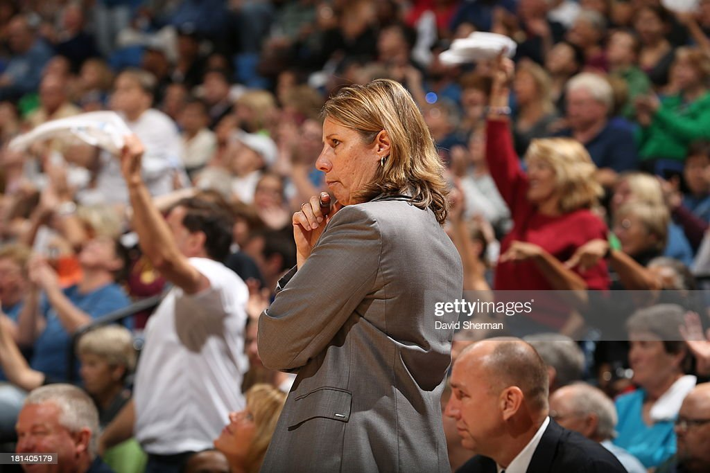 Minnesota Lynx Head Coach Cheryl Reeve coaches against the Seattle Storm during the WNBA Western Conference Semifinals Game 1 on September 20, 2013 at Target Center in Minneapolis, Minnesota.