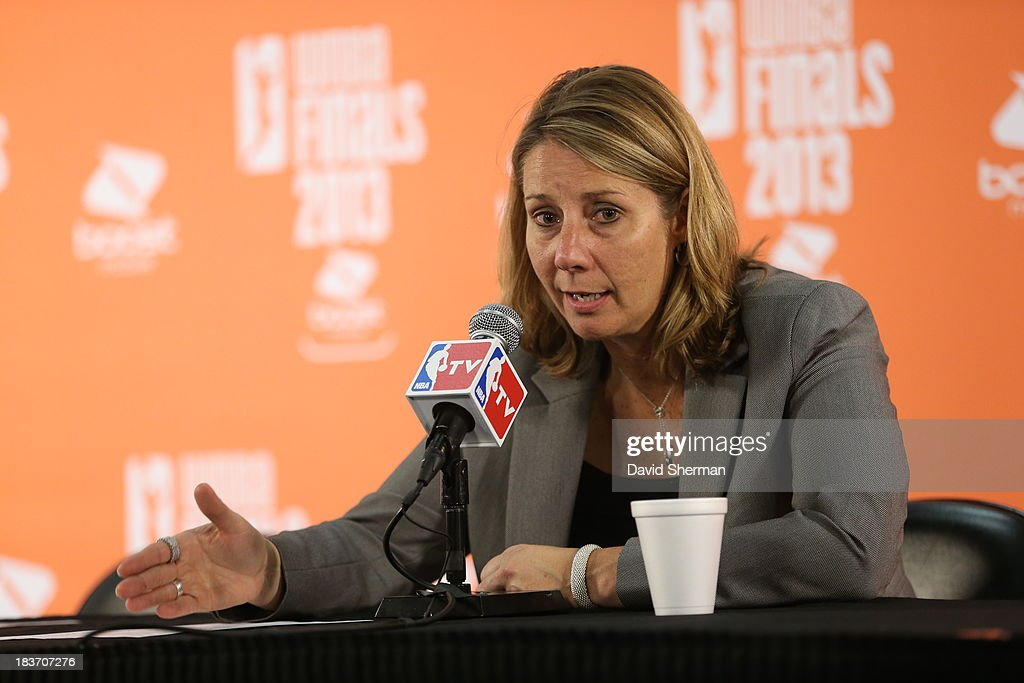 Minnesota Lynx Head Coach Cheryl Reeve talks to media after Game 2 of the 2013 WNBA Finals on October 8, 2013 at Target Center in Minneapolis, Minnesota.
