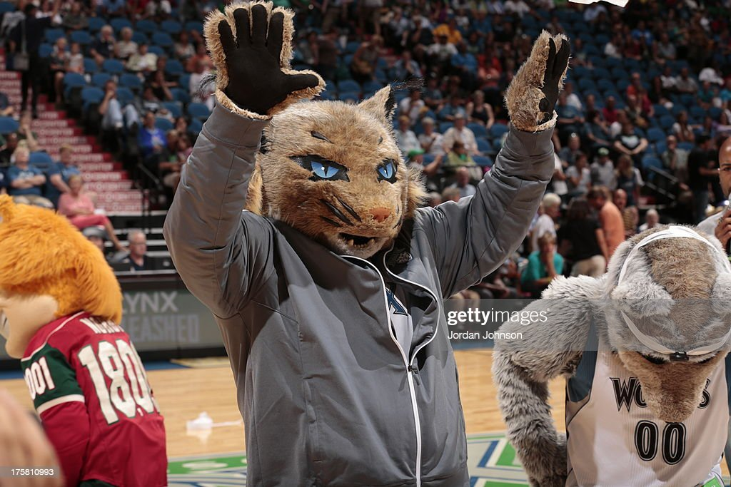 Minnesota Lynx mascot Prowl celebrates his birthday along side Nordy of the Minnesota Wild and Crunch of the Wolf of the Minnesota Timberwolves during Mascot Minute To Win it at the WNBA game against the Washington Mystics on August 8, 2013 at Target Center in Minneapolis, Minnesota.