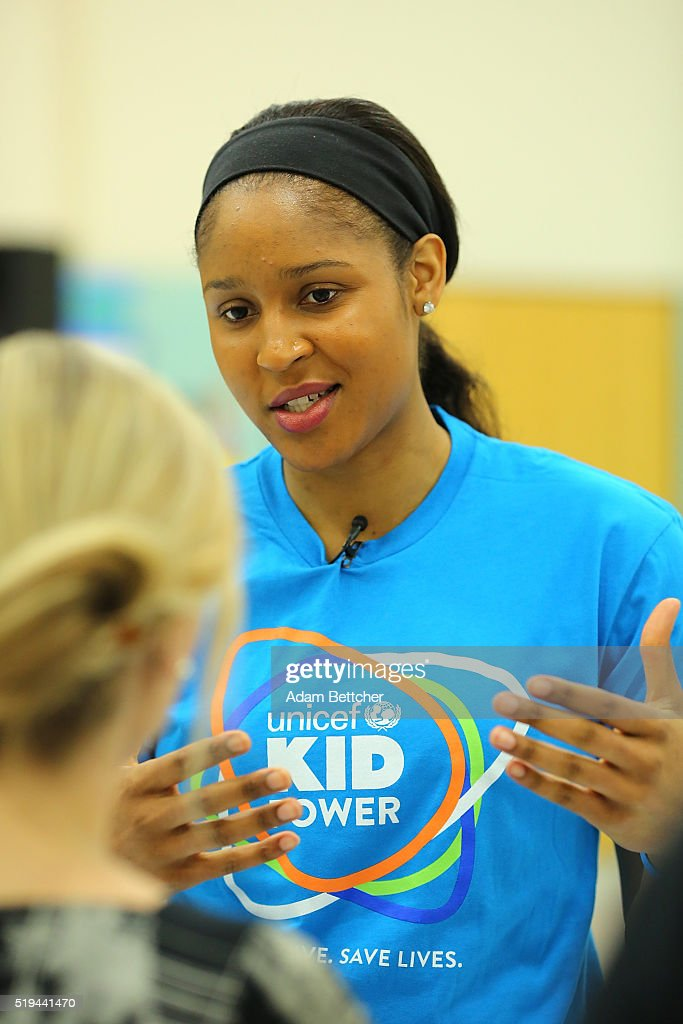Minnesota Lynx Small Forward <a gi-track='captionPersonalityLinkClicked' href=/galleries/search?phrase=Maya+Moore+-+Basketball+Player&family=editorial&specificpeople=4215914 ng-click='$event.stopPropagation()'>Maya Moore</a> attends UNICEF Kid Power Twin Cities Celebration at Odyssey Charter School on April 6, 2016 in Brooklyn Center, Minnesota.