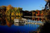 USA, Minnesota, Scott County, View of Prior Lake in autumn