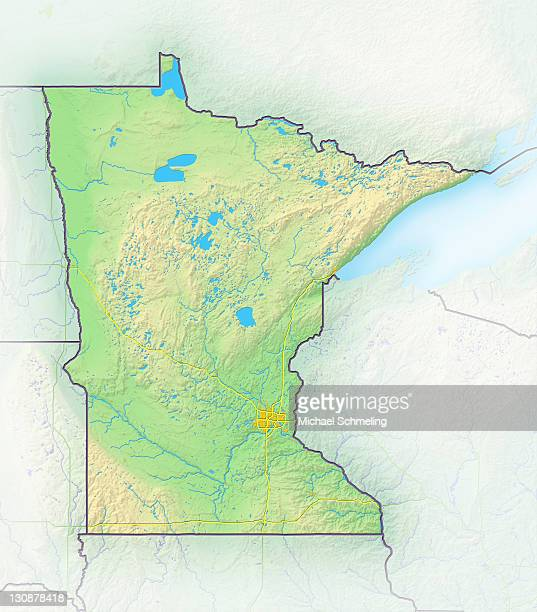 Minnesota, shaded relief map, USA
