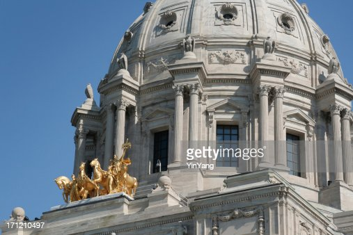 Minnesota State Capitol Dome, Government Building Exterior Detail, St. Paul