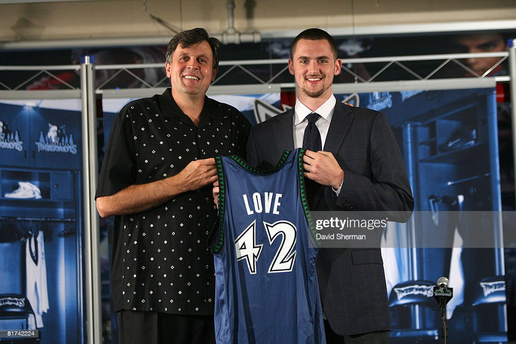 Minnesota Timberwolves 2008 First Round draft pick <a gi-track='captionPersonalityLinkClicked' href=/galleries/search?phrase=Kevin+Love&family=editorial&specificpeople=4212726 ng-click='$event.stopPropagation()'>Kevin Love</a> is introduced to the media by Kevin McHale, Vice President of Basketball Operations on June 27, 2008 at the Target Center in Minneapolis, Minnesota.