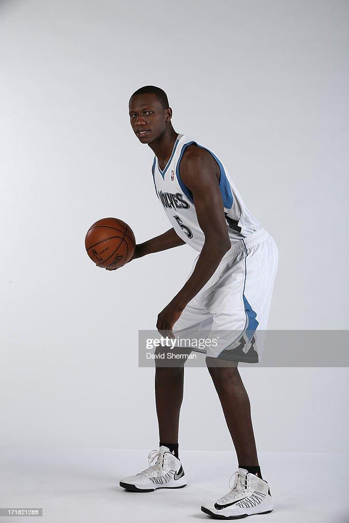 Minnesota Timberwolves 2013 NBA Draft Pick Gorgui Dieng (21st) poses for portraits on June 28, 2013 at Target Center in Minneapolis, Minnesota.